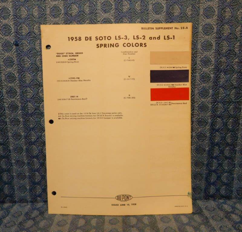 1958 DeSoto Spring Colors Original Paint Color Chip Chart