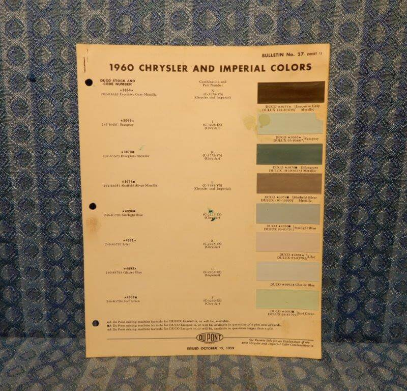 1960 Chrysler & Imperial Original Paint Color Chip Chart 4 pages