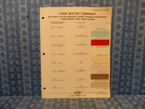 1961 Ford Lincoln Mercury Car & Truck Original Paint Color Chip Chart 4 Pages
