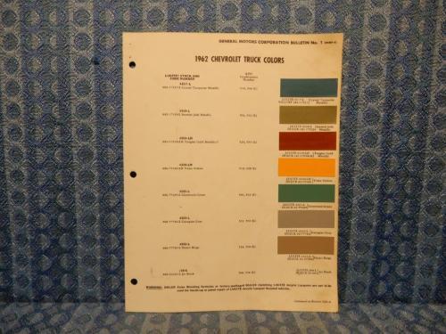 1962 Chevrolet Truck Original Paint Color Chip Chart