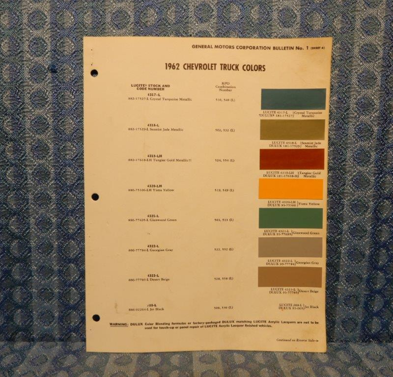1962 Chevrolet Truck Original Paint Color Chip Chart