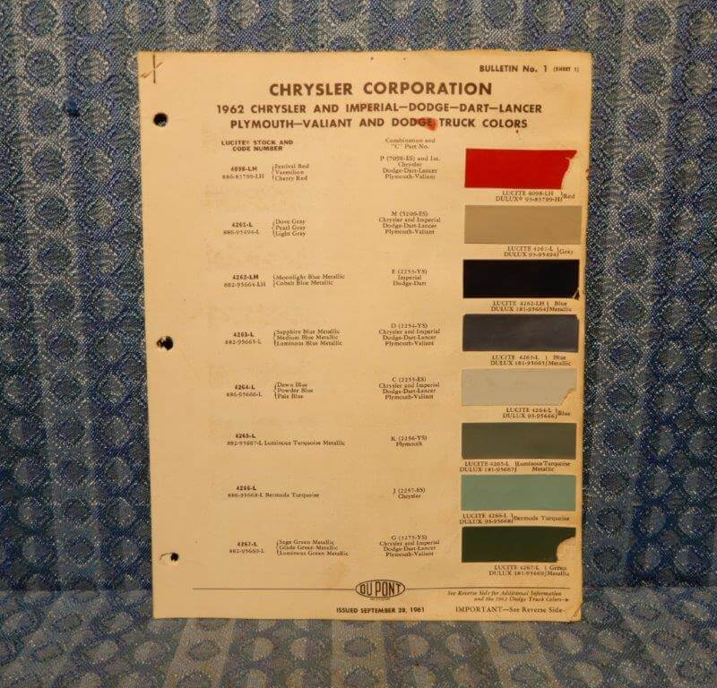 1962 Chrysler Dodge Plymouth Imperial Truck Original Paint Color Chart 4 pages