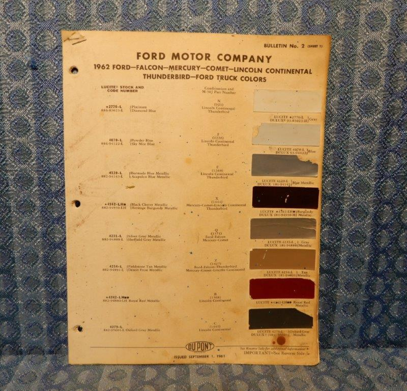 1962 Ford Lincoln Mercury Car & Truck Original Paint Color Chip Chart 5 Pages