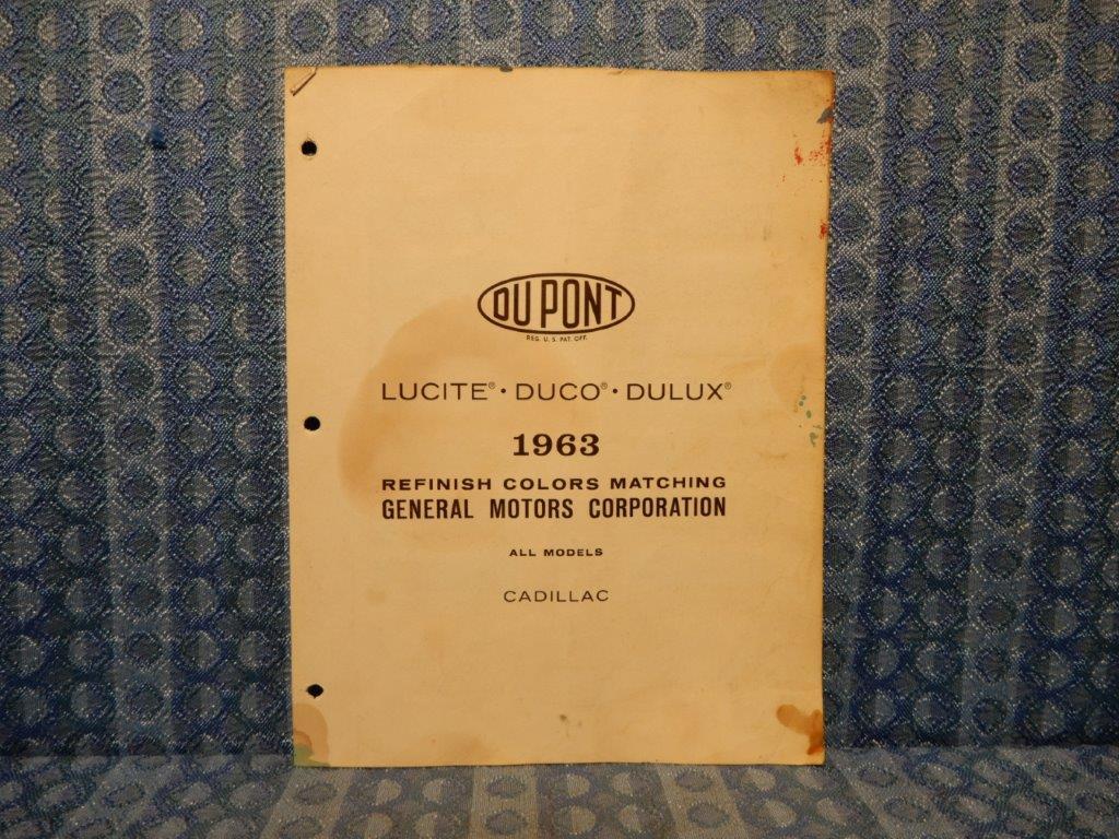 1963 Cadillac Orig Paint Color Chip Chart Deville Fleetwood El Dorado 3 Pages Nos Texas Parts Llc Antique Auto Parts
