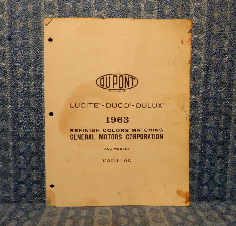 1963 Cadillac Orig Paint Color Chip Chart DeVille, Fleetwood, El Dorado 3 Pages