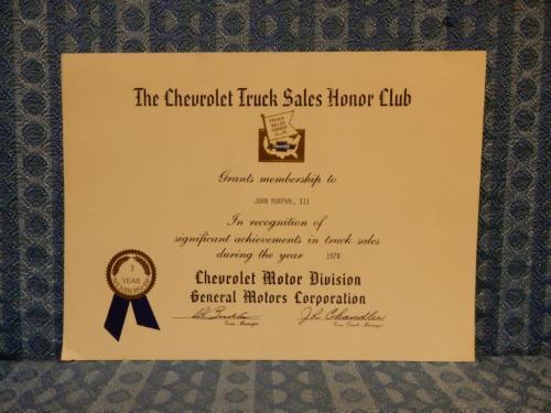 1978 Chevrolet Truck Sales Honor Club Original Certificate