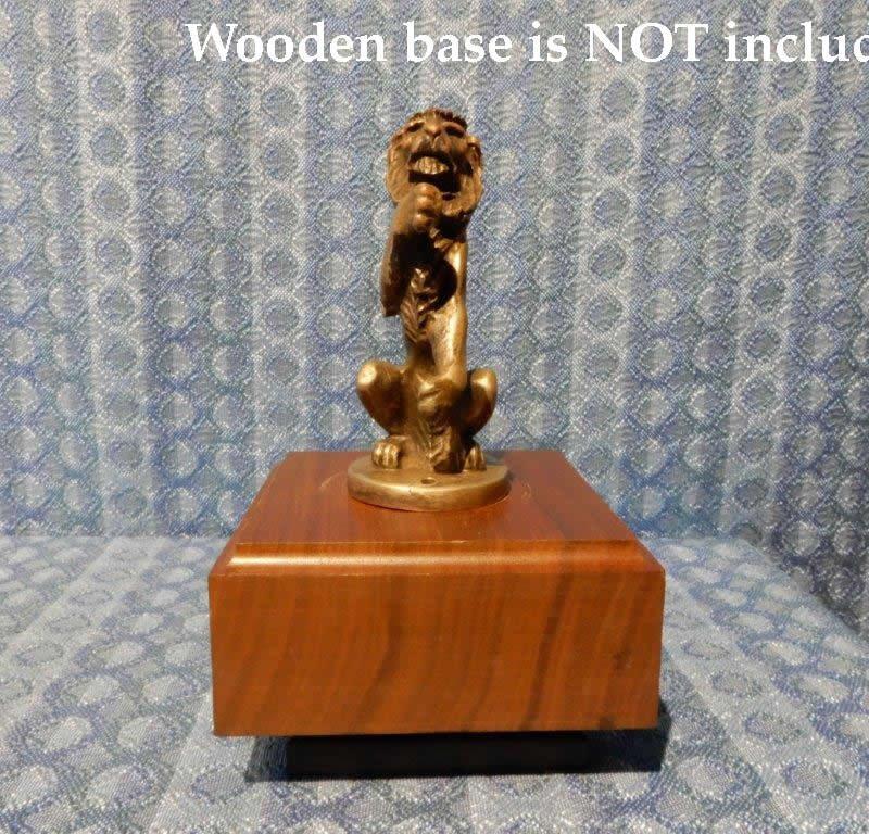 1910-1925 Vintage Figural Standing Lion Radiator Mascot Solid Brass 12 15 19 22