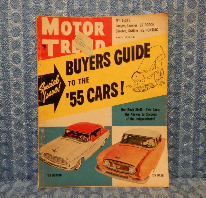 March 1955 Original Motor Trend Magazine '55 Dodge & '55 Pontiac V8 Reports