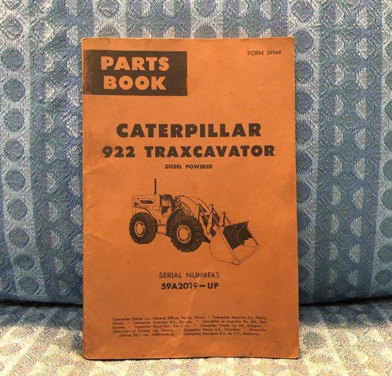 1962-1964 Caterpillar 922 Diesel Traxcavator Ser.# 59A2019 & Up Parts Book