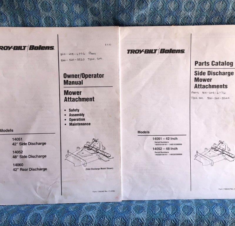 1996 Troy-bilt / Bolens Mower 14051-52 Owner / Operator Manual & Parts Catalog