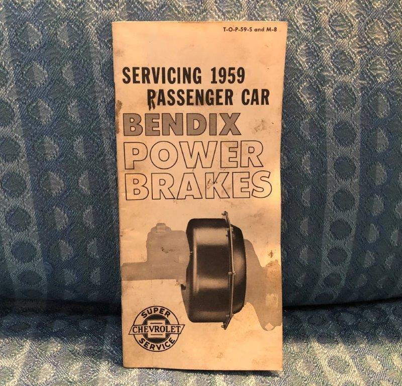 1959 Chevrolet Car Bendix Power Brakes Original Service Booklet