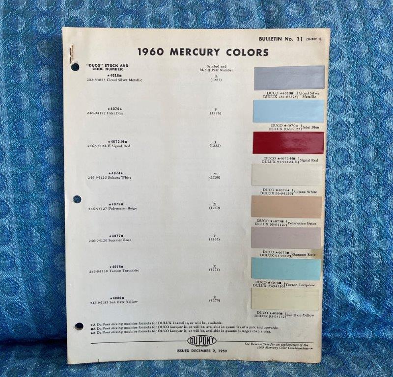 1960 Mercury Original Dupont Color Paint Chip Chart 2 pages
