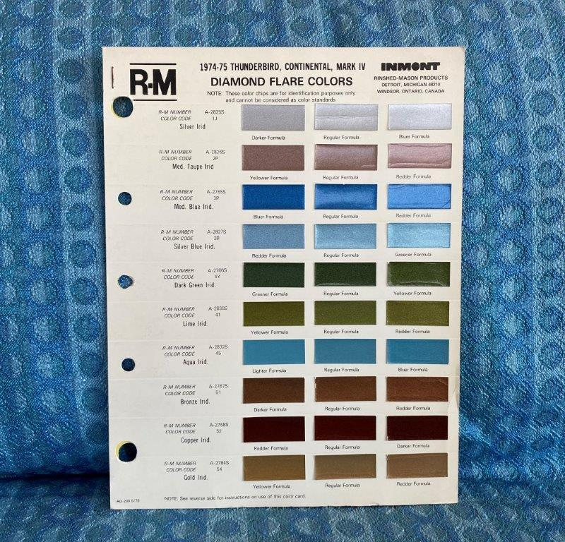1974 1975 Thunderbird, Continental, Mark IV Original R-M Color Paint Chip Chart