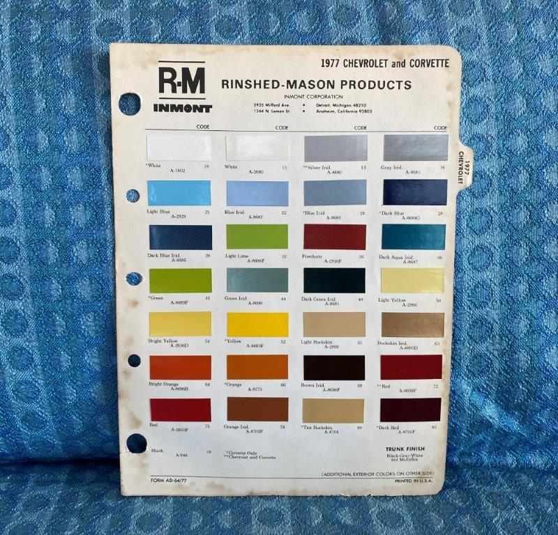 1977 Chevrolet & Corvette Original R-M Color Paint Chip Chart