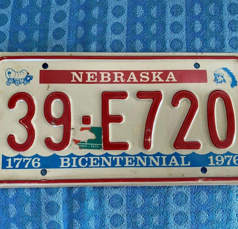 1976 1977 1978 1979 Original Nebraska Single License Plate # 39-E720