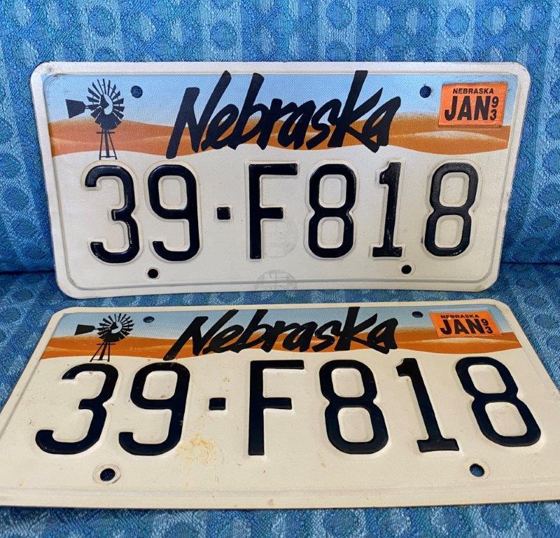 1993 Nebraska Original Pair of Windmill License Plates, # 39-F818