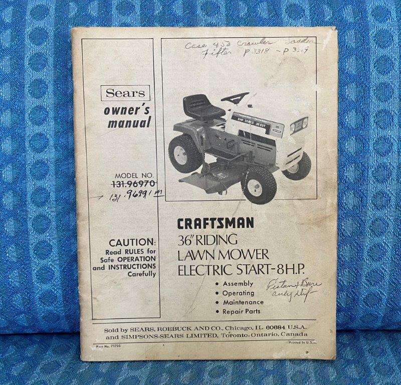"1974 Craftsman 36"" Riding Mower Original Owners Manual & Key"
