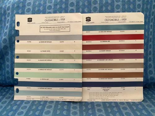 1959 Oldsmobile Dynamic 88, Super 88, 98 Original Acme Paint Chip Chart, 3 Pages