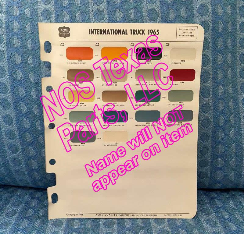 1965 International Truck Original Acme Paint Color Chips Light Medium Heavy Duty