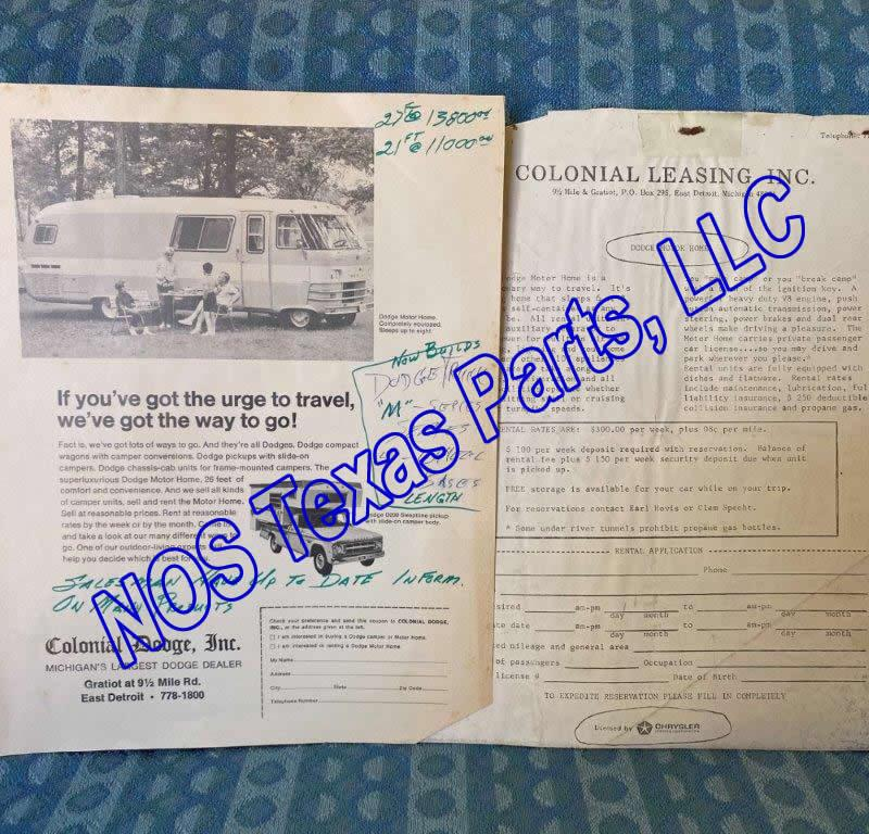 1967 Colonial Dodge Sales Flyer, Travco Motor Home, Winnebago Pickup Camper