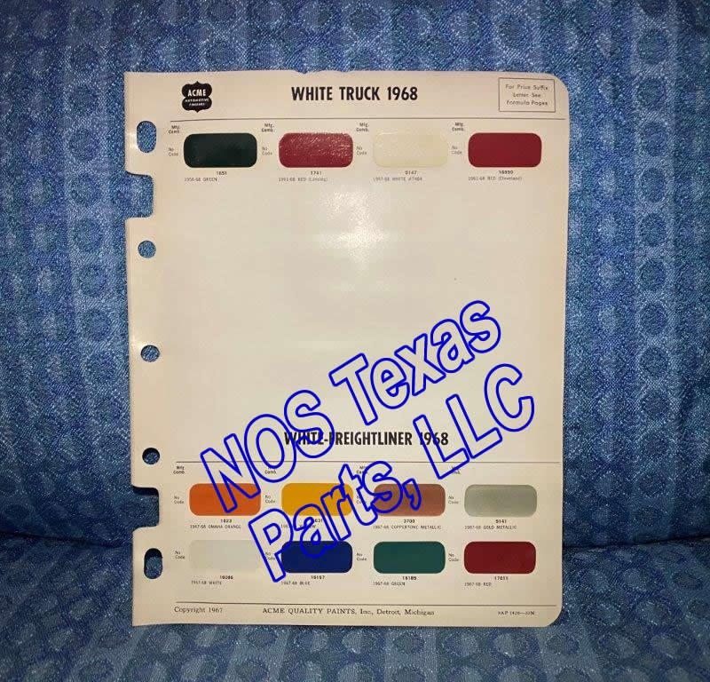 1968 White Truck & White-Freightliner Original Acme Paint Color Chip Chart