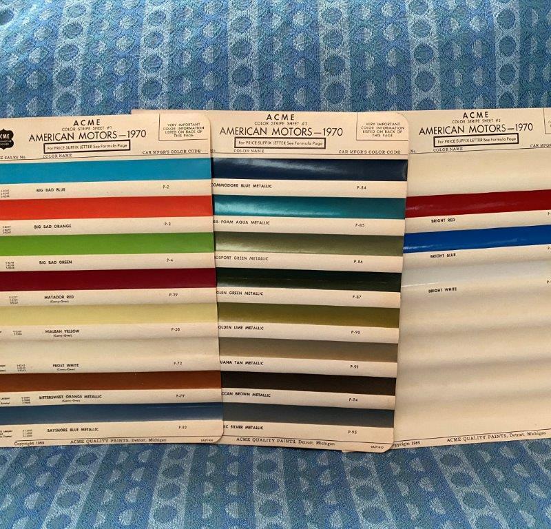 1970 American Motors Original Acme Paint Color Chip Chart, 3 Pages Ambassador