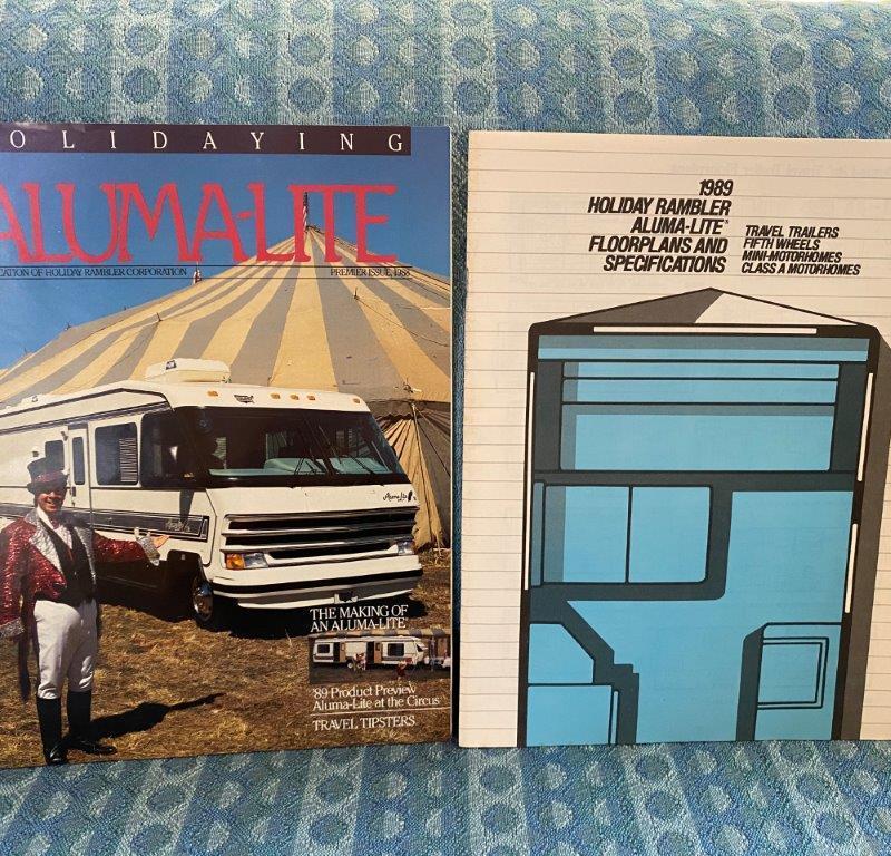1989 Holiday Rambler Aluma-Lite Trailers 5th Wheel Motorhome Sales Brochure 2 Pc