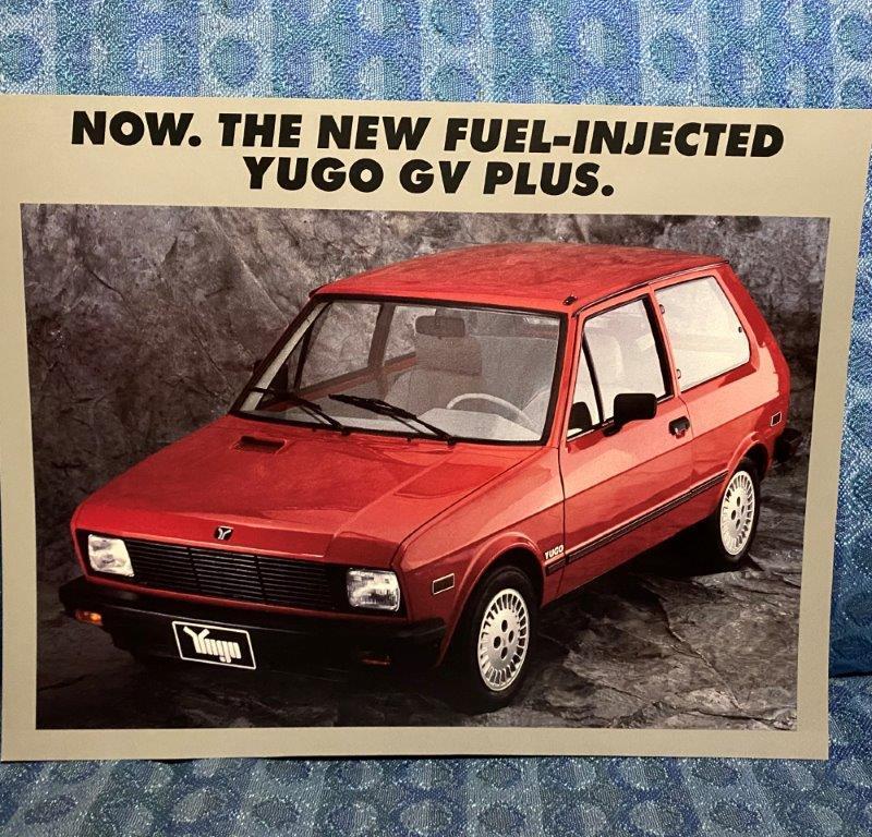 1990 Yugo GV Plus Original Sales Sheet