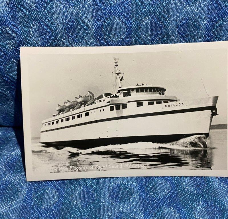 "Puget Sound ""The New Flagship M.V. Chinook"" Original Real Photo Postcard"