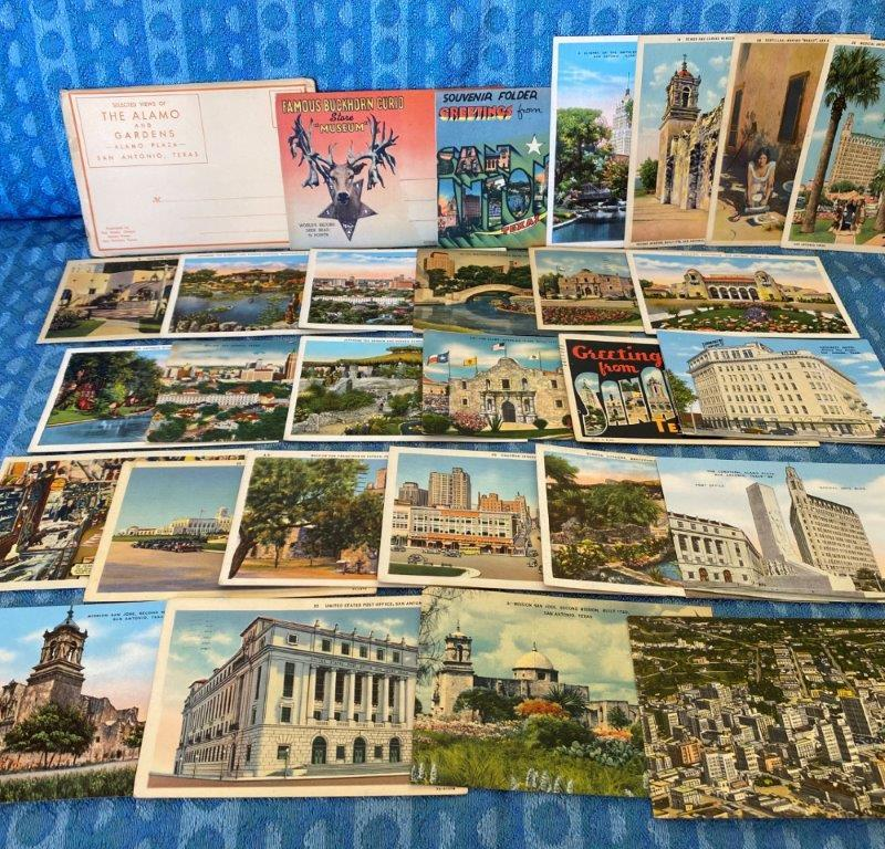 San Antonio Texas Original Linen Postcard Lot of 30 Pieces