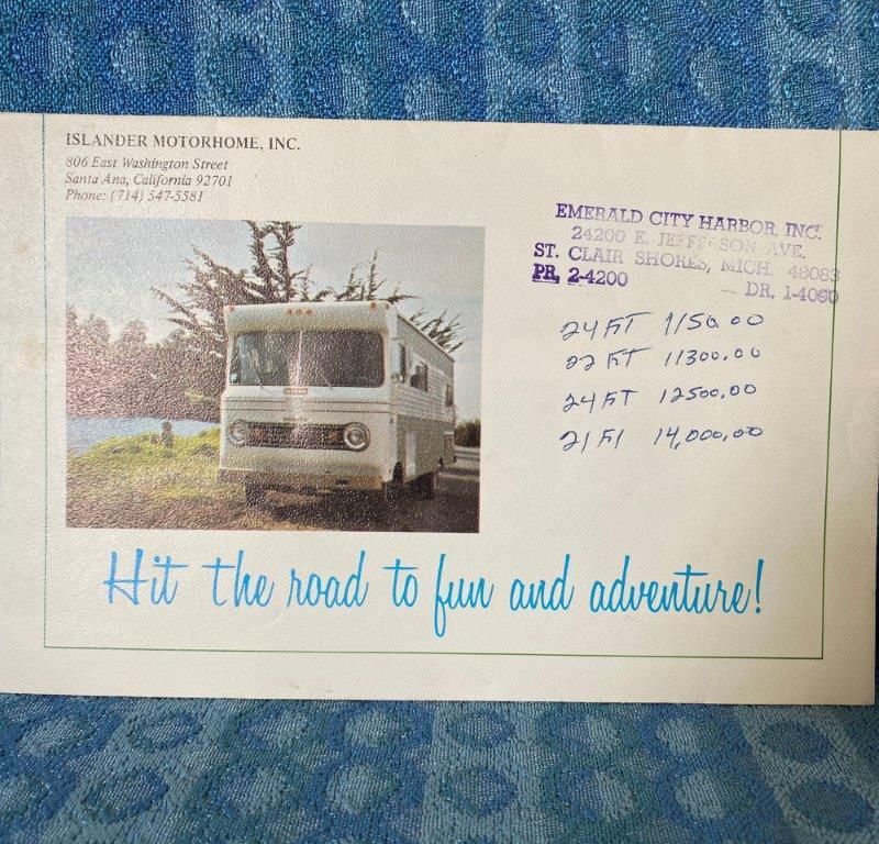 1969 Islander Motor Home Original Color Sales Brochure