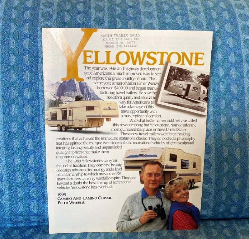 1989 Yellowstone Camino & Camino Classic 5th Wheel Original Sales Brochure