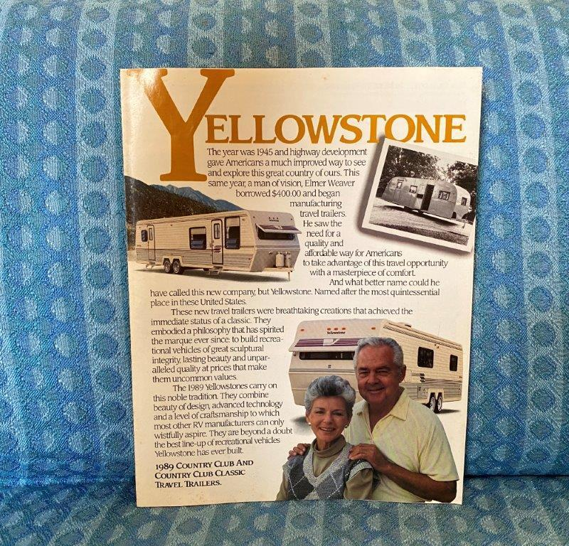 1989 Yellowstone Country Club & Classic Travel Trailer Original Sales Brochure