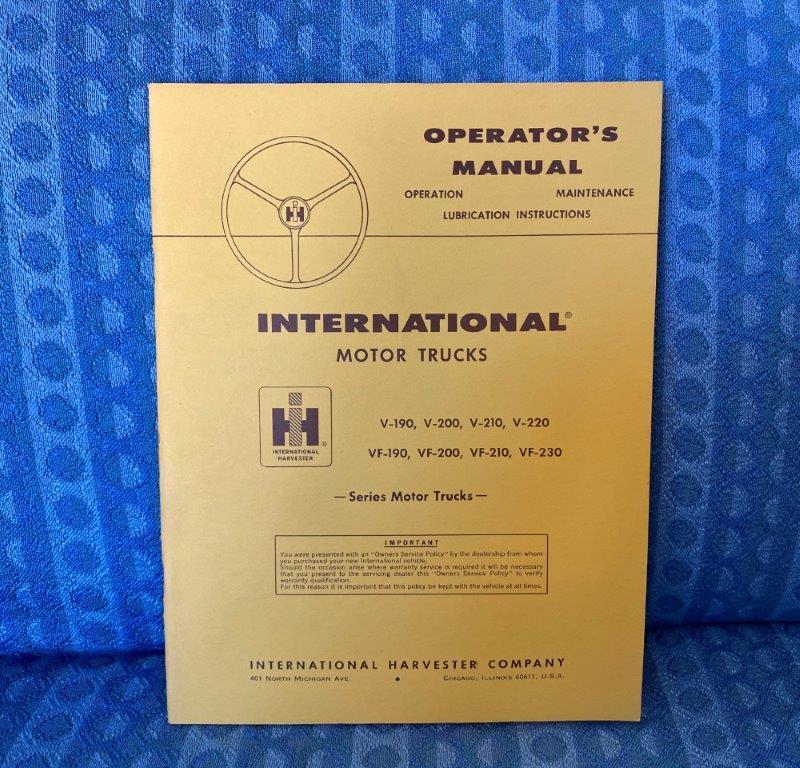 Circa 1958-1960 International Truck Operators Manual V & VF Series SEE AD