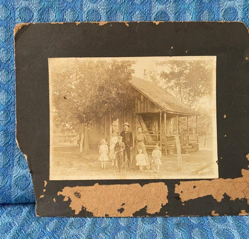 C. 1900 8X10 Cabinet Card Fritz Tramp Family Homestead Cabin Children Tricycles