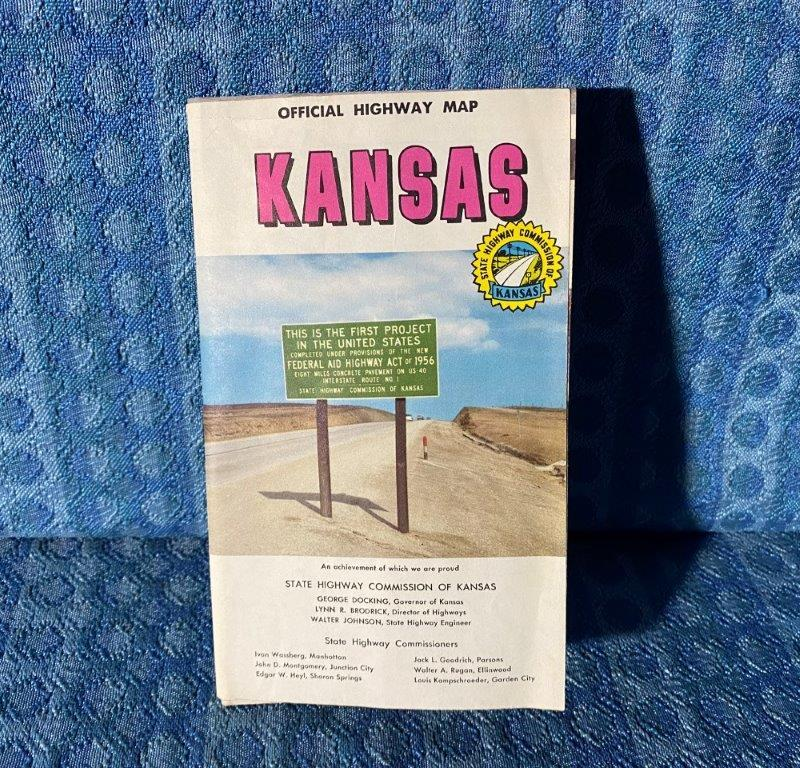 1957-1958 Kansas Official Highway Map Original Road Map