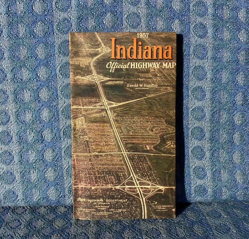 1957 Indiana Official Highway Map Original Road Map