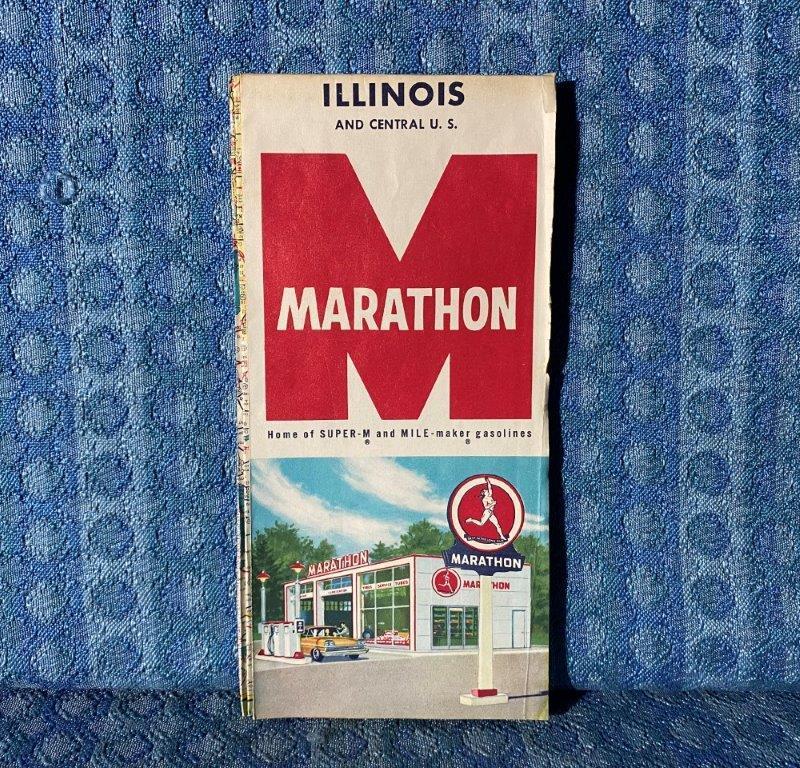 1961 Marathon Gasoline Illinois & Central U.S. Original Road Map