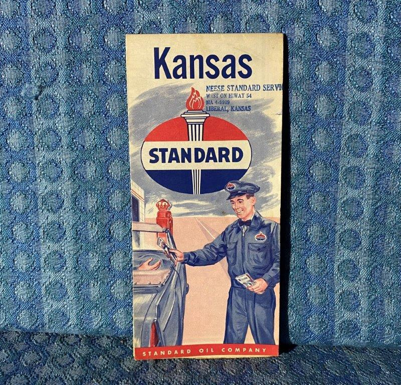 Circa 1955 Standard Oil Co. Kansas Original Road Map