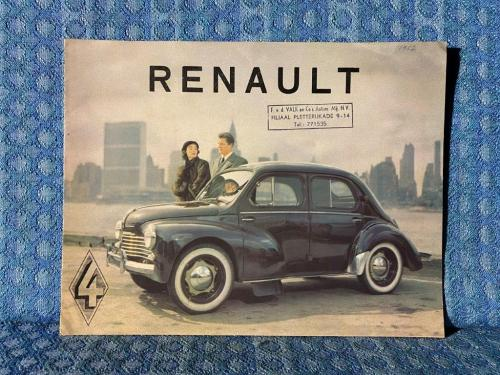 1952 Renault 4CV Door Sedan Original Sales Flyer Holland / Neatherlands Market