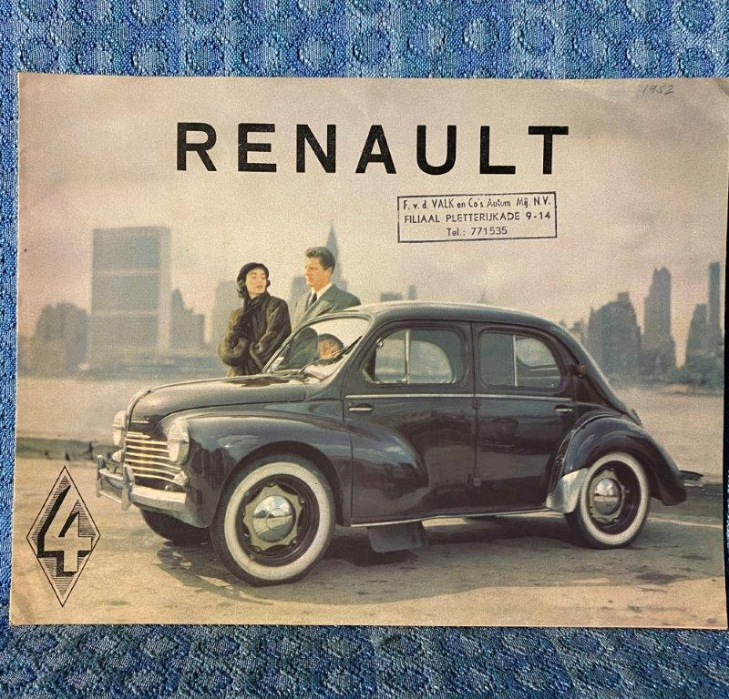 1952 Renault 4CV Door Sedan Original Sales Flyer Holland / Neatherlands Market