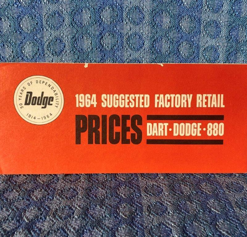 1964 Dodge ORIGINAL Suggested Factory Retail Prices Dart, 330, 440, 880, Polara