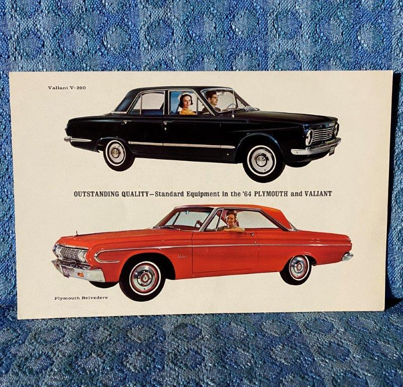 1964 Plymouth & Valiant Original Large Sales Postcard