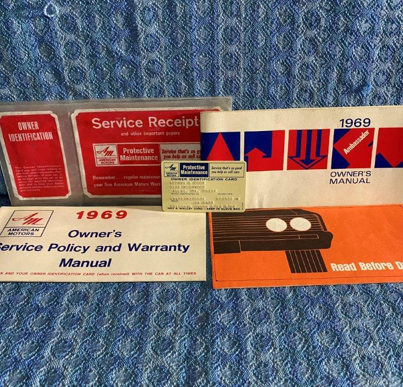 1969 AMC Ambassador Original Owners Manual Package w/ Env & ID Card 5 Piece Set