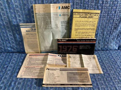1976 AMC Pacer Owners Manual Package w/ Window Stickers, Visor Sleeve, 7 Pc Set