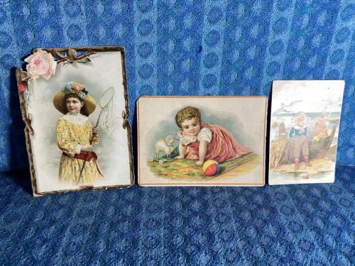 1893-1895 Victorian School Award Cards Lot of 3 Embossed Die Cut, Children, Toys