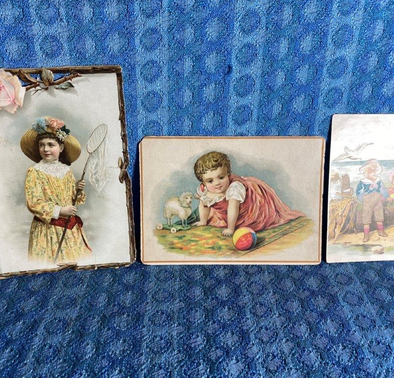 1893-1895 Victorian School Award Cards Lot of 3 Embossed Die Cut, Children, Toys