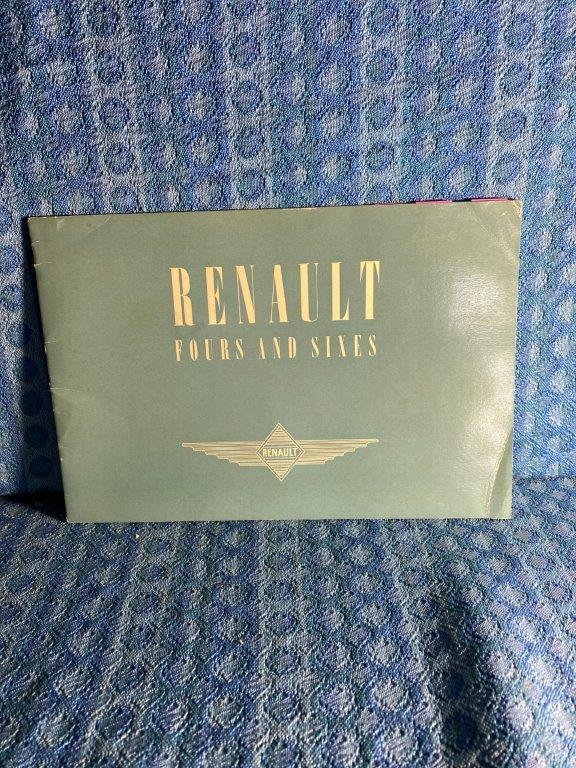 1939 Renault Fours & Sixes Original British Sales Catalog with Price Sheet