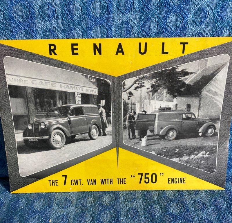 1954-1955 Renault 7 cwt. Van Original Sales Brochure in English