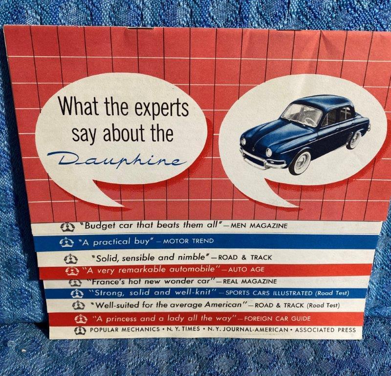 1957 Renault Dauphine Original Sales Brochure / Folder - U.S. Market